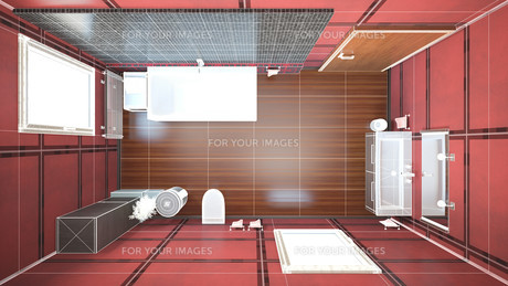 3D interior rendering of a bathroom with furnituresの写真素材 [FYI00645784]