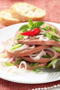 Mortadella-like sausage with onionの写真素材 [FYI00645818]