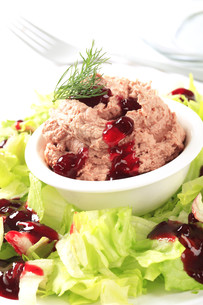 Meat and liver spread with cranberry sauceの写真素材 [FYI00645845]