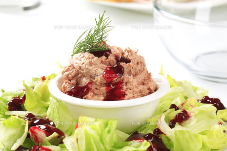 Meat and liver spread with cranberry sauceの写真素材 [FYI00645847]