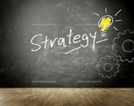 Simple Strategy Concept on Black Chalkboardの写真素材 [FYI00645911]