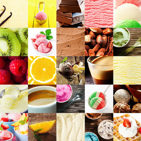 Italian ice cream and dessert collageの素材 [FYI00645927]