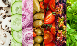 Background collage of diced fresh vegetablesの写真素材 [FYI00645930]