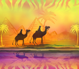 Camel train silhouetted against colorful sky crossing the Sahara Desertの写真素材 [FYI00645954]