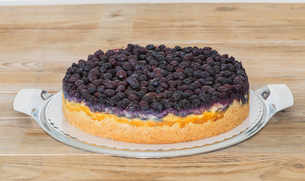 cheesecake with blueberries on wooden boardの写真素材 [FYI00646001]