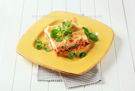 Portion of lasagna on a yellow plateの写真素材 [FYI00646183]