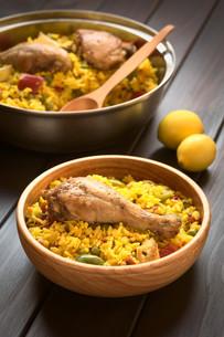 Spanish Chicken Paellaの写真素材 [FYI00646371]
