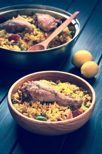 Spanish Chicken Paellaの写真素材 [FYI00646372]