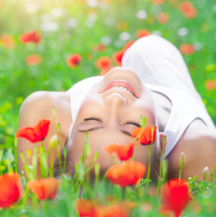 Relaxation on poppy flower fieldの写真素材 [FYI00646643]