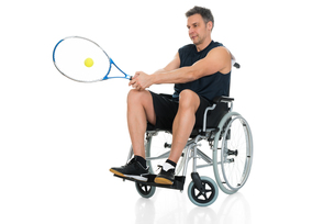 Handicapped Player Playing Tennisの写真素材 [FYI00646707]