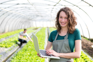 Portrait of an attractive farmer in a greenhouse using laptopの写真素材 [FYI00646921]