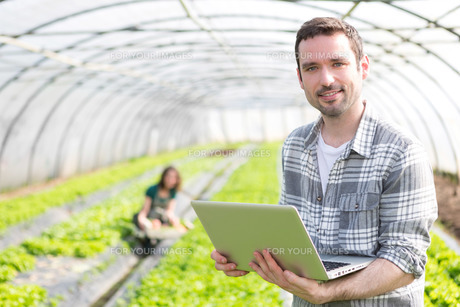 Portrait of an attractive farmer in a greenhouse using laptopの写真素材 [FYI00646926]