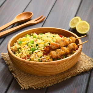 Couscous Salad with Chicken on Skewerの写真素材 [FYI00647200]