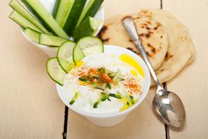 Arab middle east goat yogurt and cucumber saladの写真素材 [FYI00647243]