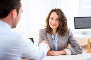 Young attractive woman during job interviewの写真素材 [FYI00647300]