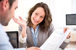 Young attractive woman during job interviewの写真素材 [FYI00647303]