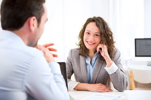 Young attractive woman during job interviewの写真素材 [FYI00647310]