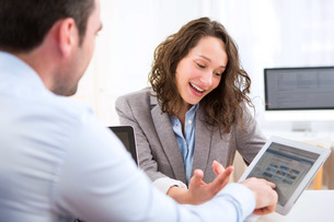 Young attractive woman during job interviewの写真素材 [FYI00647313]