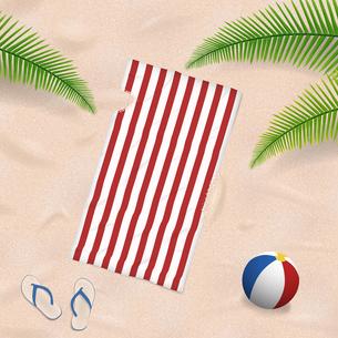beach towel in the sandの写真素材 [FYI00647490]