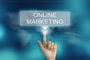hand clicking on online marketing buttonの写真素材 [FYI00647519]