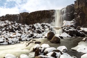 pingvellir Waterfall Icelandの写真素材 [FYI00647553]