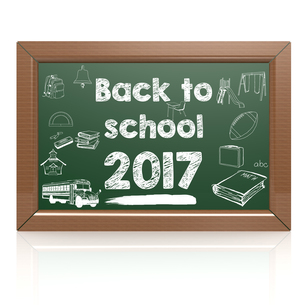 Back to school 2017 green blackboardの写真素材 [FYI00647704]