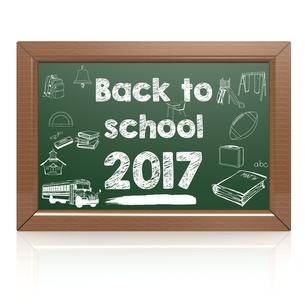 Back to school 2017 green blackboardの写真素材 [FYI00647704]