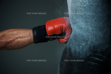 Boxing training and Punching bagの写真素材 [FYI00647783]