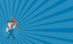 Business card Turkey Plumber Monkey Wrench Cartoonの写真素材 [FYI00648403]