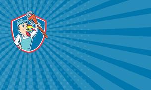 Business card Turkey Plumber Monkey Wrench Shield Cartoonの写真素材 [FYI00648406]