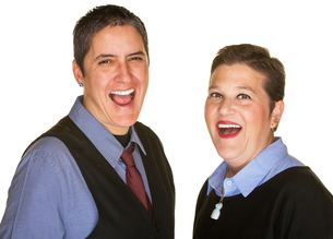 Hysterical Couple Laughingの写真素材 [FYI00648416]