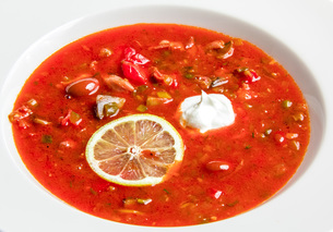 Red soup with beansの写真素材 [FYI00648674]