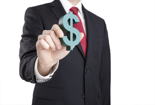 Businessman holding dollar sign with clipping pathの写真素材 [FYI00648885]