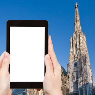 tourist photographs St Stephan Cathedral, Viennaの素材 [FYI00649059]