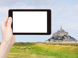 photo of mont saint-michel abbey, Franceの写真素材 [FYI00649064]