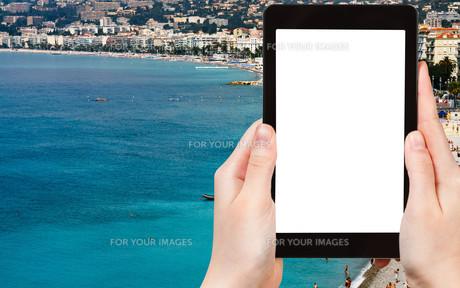 tourist photographs Azure coast in Nice, Franceの素材 [FYI00649105]