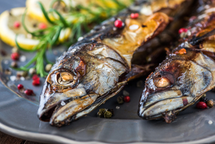 Baked Mackerel Fish with Herbs and Lemon on a Plateの写真素材 [FYI00649191]