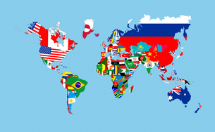 world flags mapの写真素材 [FYI00649193]