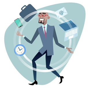 African businessman time management concept jugglerの写真素材 [FYI00649237]