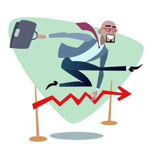 African businessman jumps schedule sales is like a barrier in ruの写真素材 [FYI00649250]