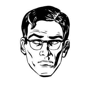 Anxious emotional face men fear  uncertainty eye retroの写真素材 [FYI00649266]
