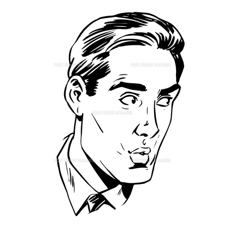 Anxious emotional face men fear uncertainty of eye retroの写真素材 [FYI00649269]
