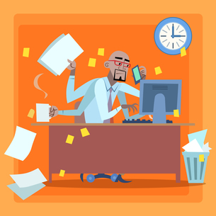 African businessman loaded with work time managementの素材 [FYI00649270]