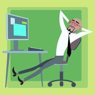 African businessman resting at the computer officeの写真素材 [FYI00649272]