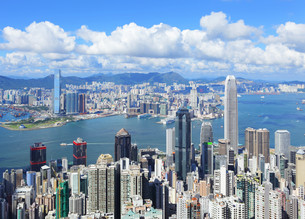 Hong Kong skyline from Victoria Peakの写真素材 [FYI00649408]