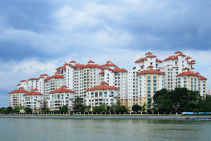 Typical public housing in Singaporeの写真素材 [FYI00649411]