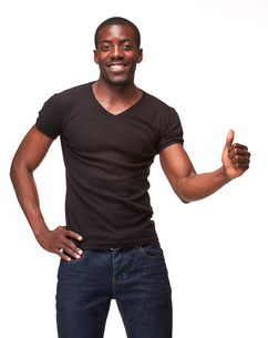 portrait of handsome young black african smiling manの写真素材 [FYI00649448]