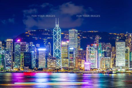 Hong Kong famous night viewの写真素材 [FYI00649510]