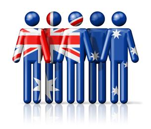 Flag of Australia on stick figureの写真素材 [FYI00650064]