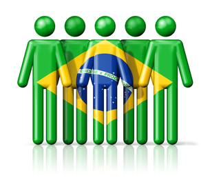 Flag of Brazil on stick figureの写真素材 [FYI00650066]